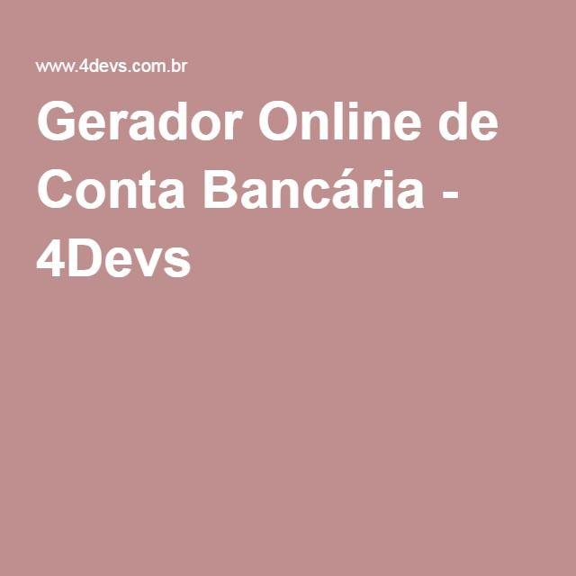 Gerador Online de Conta Bancária - 4Devs