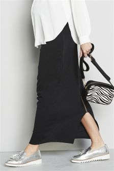 Black Maternity Zip Maxi Skirt