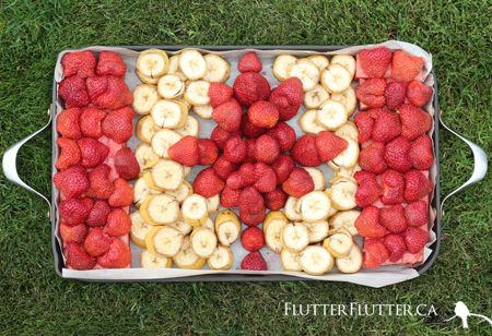 Canada flag inspired fruit platter by FlutterFlutter blog.
