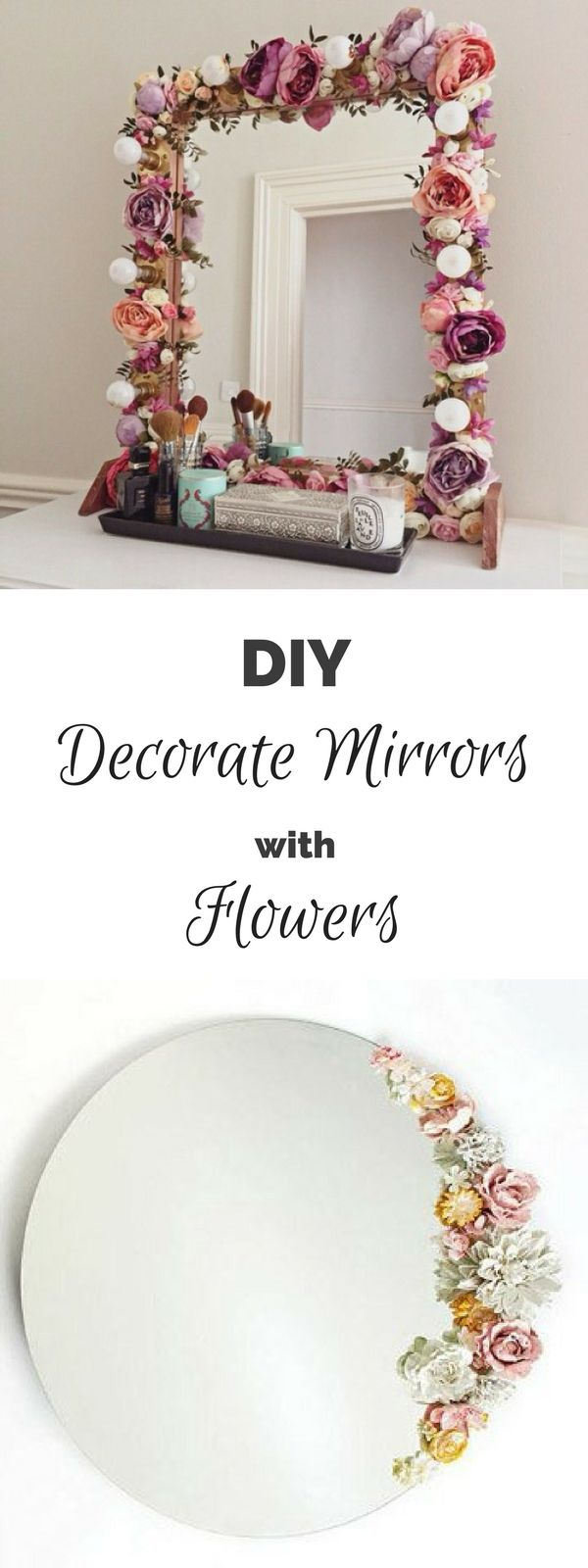 16 Fab DIY Mirrors You Can Easily Make Yourself – how to make a #DIY flower deco…