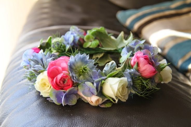 Head Dress of Ranunculas, Hydrangeas, Love in the Mist, Rolled Rose Petals and Snowflake Rose Buds