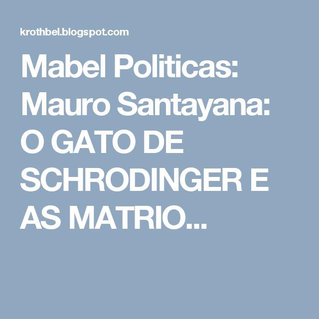 Mabel Politicas: Mauro Santayana: O GATO DE SCHRODINGER E AS MATRIO...