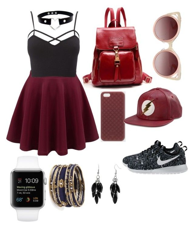 red feels by iinwahyuj on Polyvore featuring polyvore, fashion, style, Charlotte Russe, NIKE, Amrita Singh, Alexa Starr, Gucci, Bioworld, WithChic and clothing
