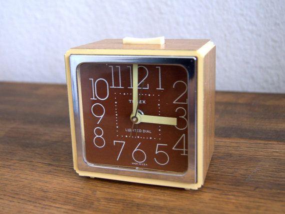 70's Retro Wood-Grain Timex Alarm Clock. Vintage & by AtomicMagpie