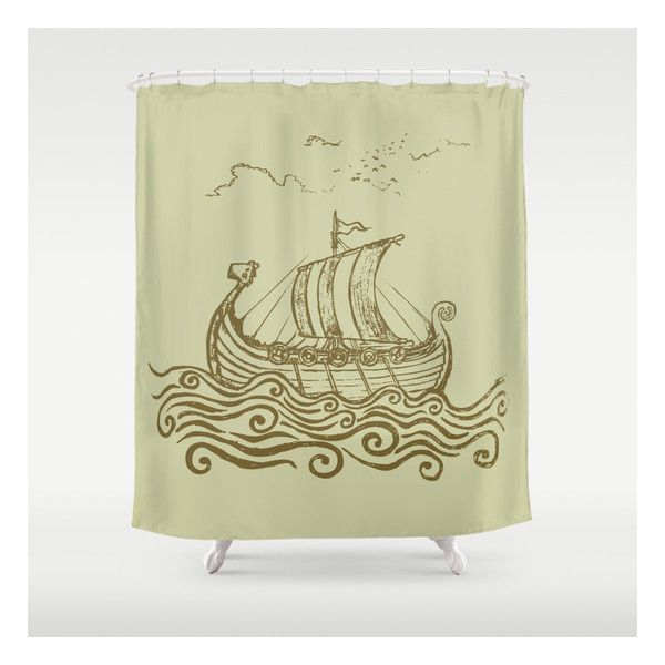 Viking Ship Shower Curtain (88 AUD) ❤ Liked On Polyvore Featuring Home, Bed