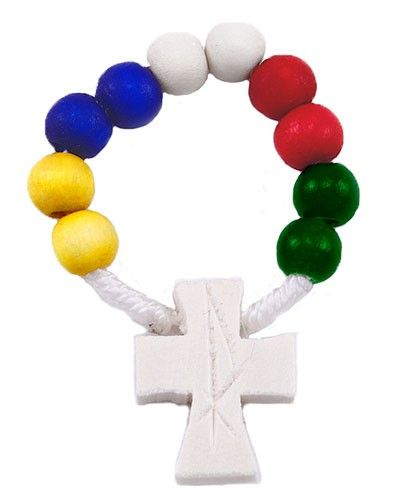 Multicolor Missionary beads decade rosary on rope string with a wooden cross. Made in Italy. (sku 4-3611)
