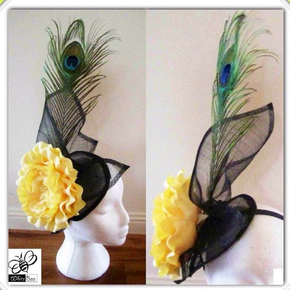 Yellow and black fascinator with peacock feather by WhiteBea, $45.00