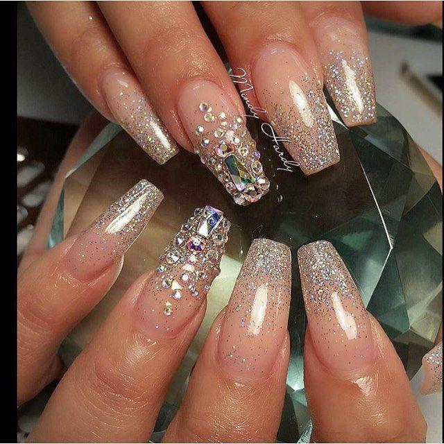 Glitter + Swarovski Bling Long Coffin Nails. Sparkle & Shine all the the…