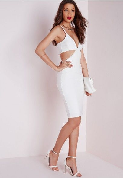 Robe moulante blanche en crêpe à découpes - Robes - Robes moulantes - Missguided