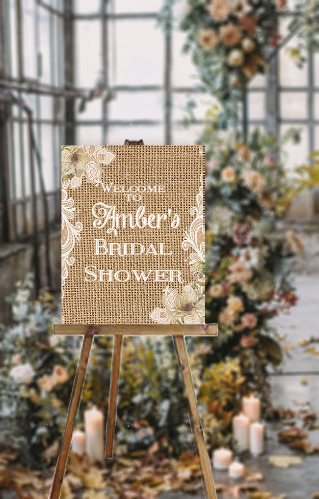 Blue Burlap /& Lace Cards /& Gifts Table Personalised Wedding Sign