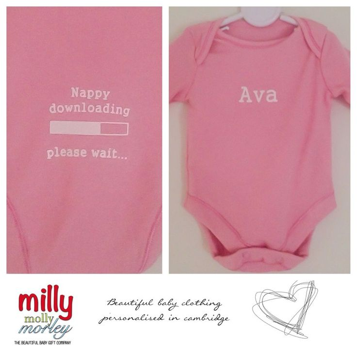 Beautiful PERSONALISED pink babygrow/vest NAPPY DOWNLOADING funny slogan