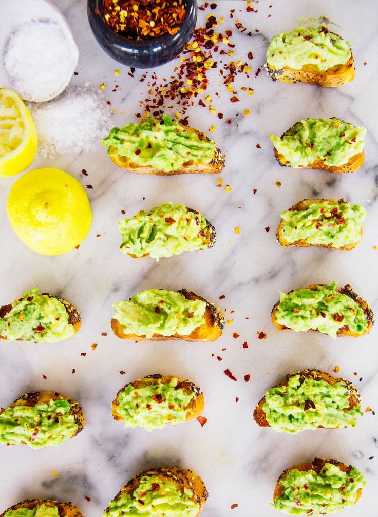 Get the recipe: Mini Avocado Toasts With Pepper Flakes, Lemon, and Maldon Salt                  Image Sourc...
