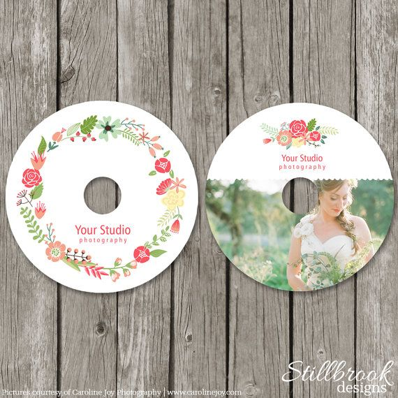 CD Label Template for Photographers - Spring Floral Wedding Photography DVD Labels - Summer Flower Photo CD Favor