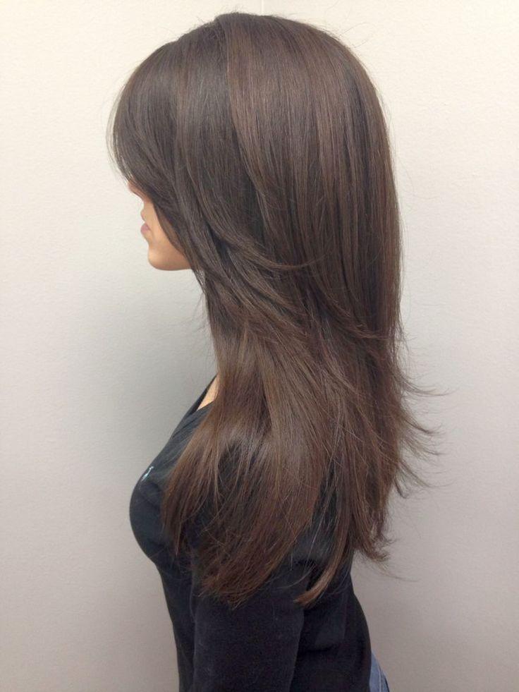 Стрижка на длинные волосы лесенка с челкой фото
