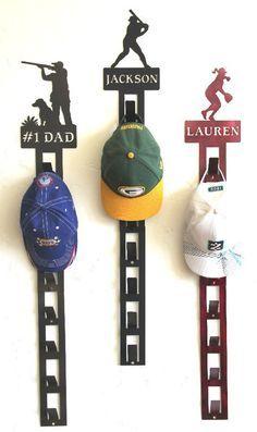 Personalized Baseball Hat Holder: Personalized Baseball Hat Rack: Baseball Cap Display – Personalized Sport Medal Holders: Custom Metal Home & Yard Decor: