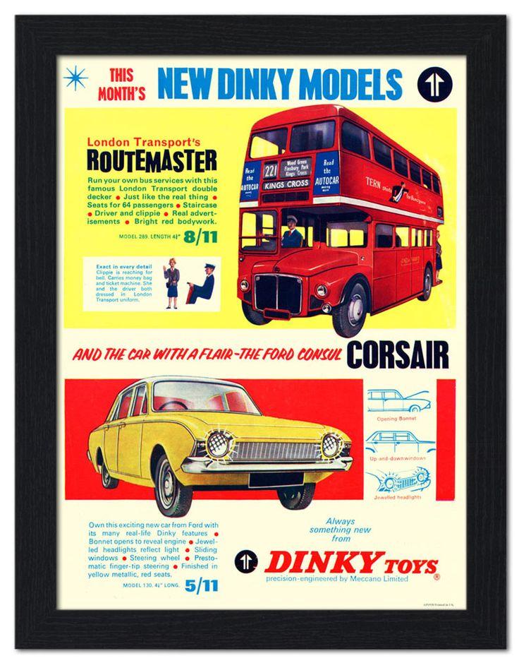 AP-FRAME-1958 - Routemaster Bus, Corsair, Toy Advert - Framed Print 32x42cm Black