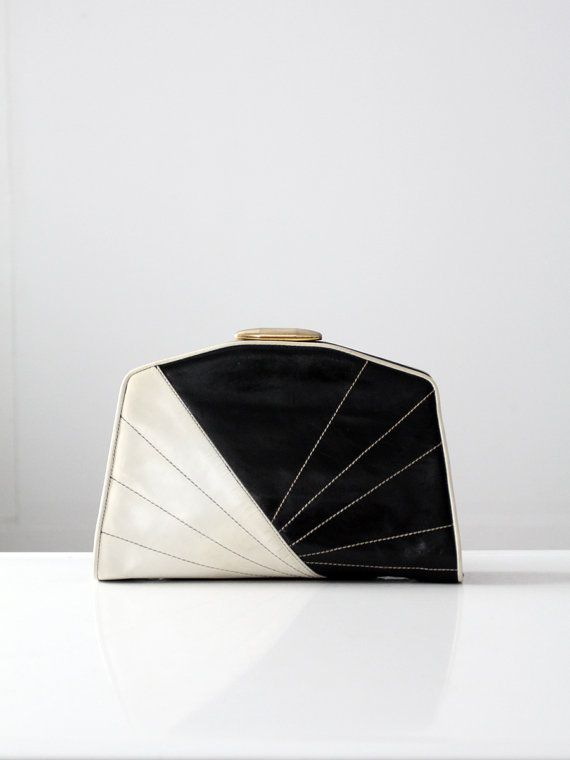Vintage Black and White Clutch / 1980s Leather Bag by 86Vintage86
