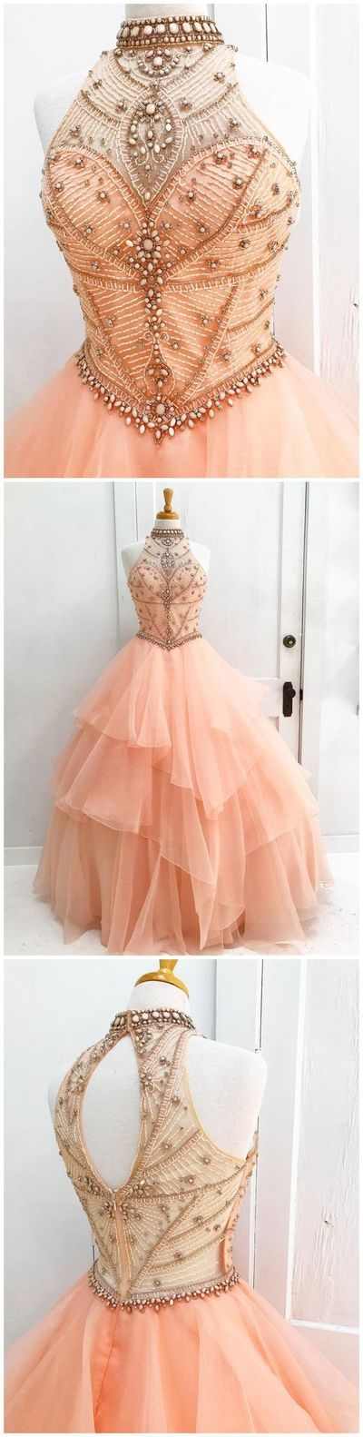 CHIC A-LINE HIGH NECK PEARL PINK BEADING MODEST LONG PROM DRESS EVENING DRESS ,030 from DressyBridal