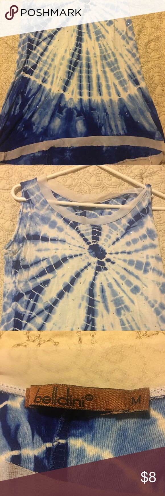 Belldini long tank top size M Belldini size M tank top, soft material with sheer material at the top around the neckline and all around the bottom of the shirt. The sheer material is imperfect (see pics) but is supposed to be like that.  Shirt is like new. Belldini Tops Tank Tops