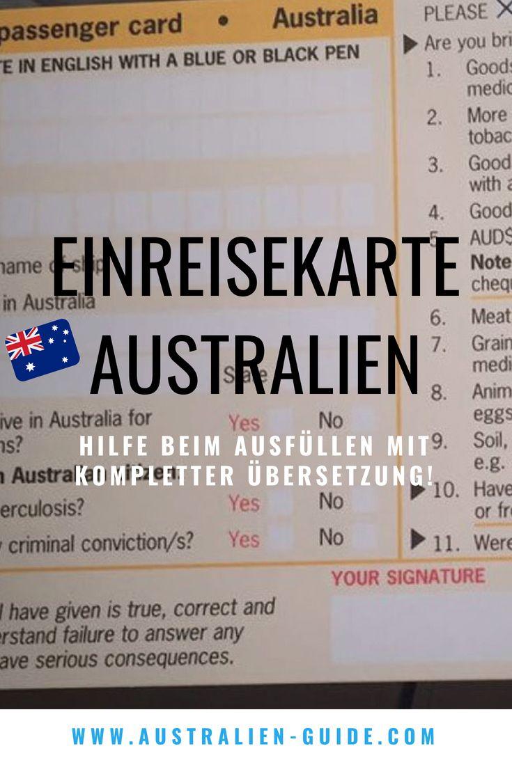 Einreisekarte für Australien – Hilfe beim Ausfüllen