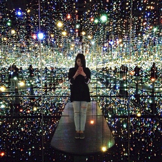 Japanese artist Yayoi Kusama is showing off her newest installations in New York. The Infinity Mirrored Room features hundreds of multicolored LED lights, from floor to ceiling, to  transform a room into what feels like eternity. (Photo: Delissa Handoko)