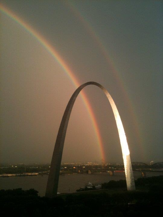 Rainbow and St. Louis Arch I really saw this double rainbow firsthand!