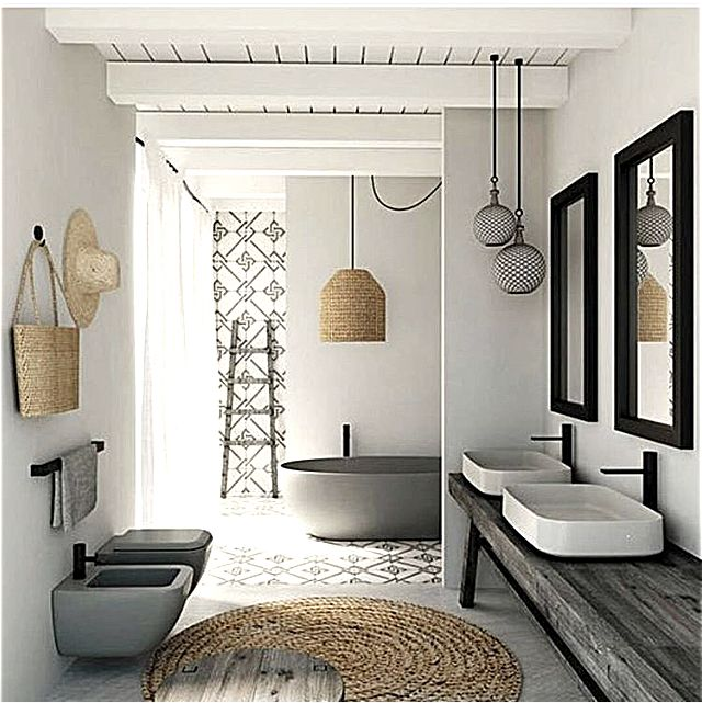 Concrete- patterned tile strategically place at floor and wall. also note sink types - do you want under or above counter mount?