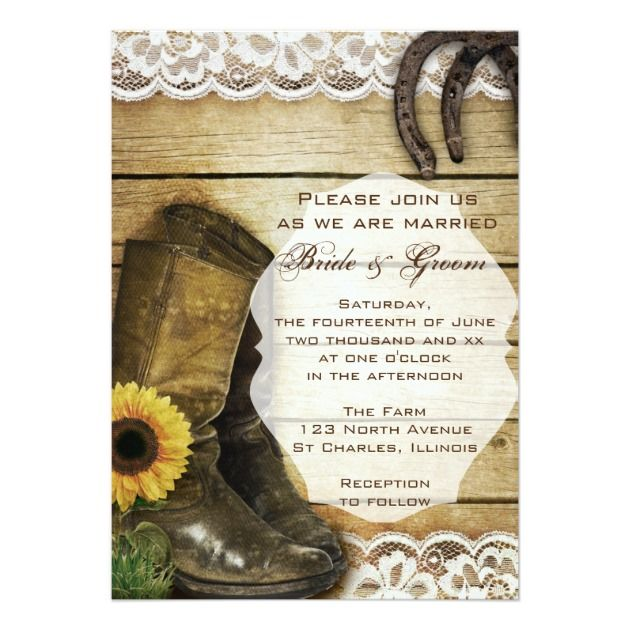 Country Sunflower Wedding Boots and Horseshoes 5x7 Paper Invitation Card / http://www.deerpearlflowers.com/rustic-farm-wedding-horseshoe-ideas/
