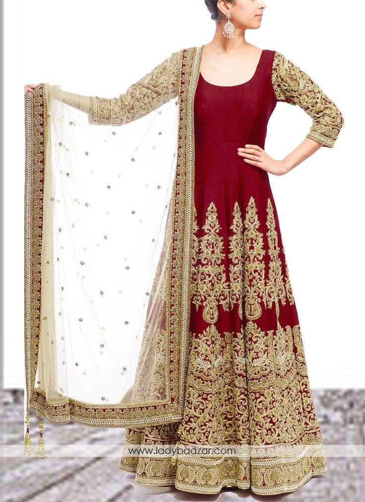 Maroon Embroidered Work Anarkali Salwar Kameez #Anarkali #SalwarSuit #Wedding…