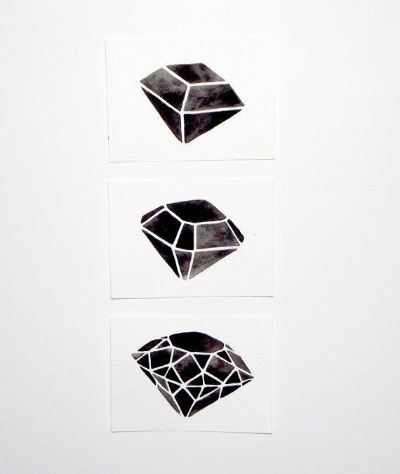 Custom Listing for Maria - ACEO - Original Watercolor - Geometric Diamond Set via Etsy