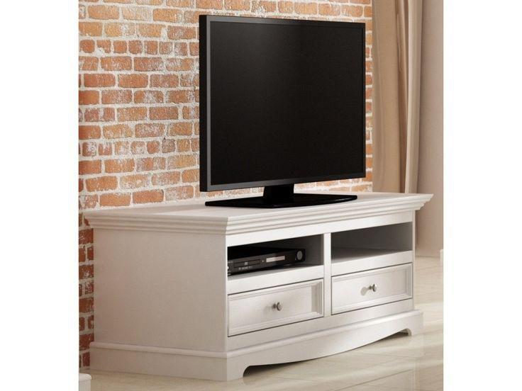 TV komoda Belluno Elegante, biela, masív, borovica