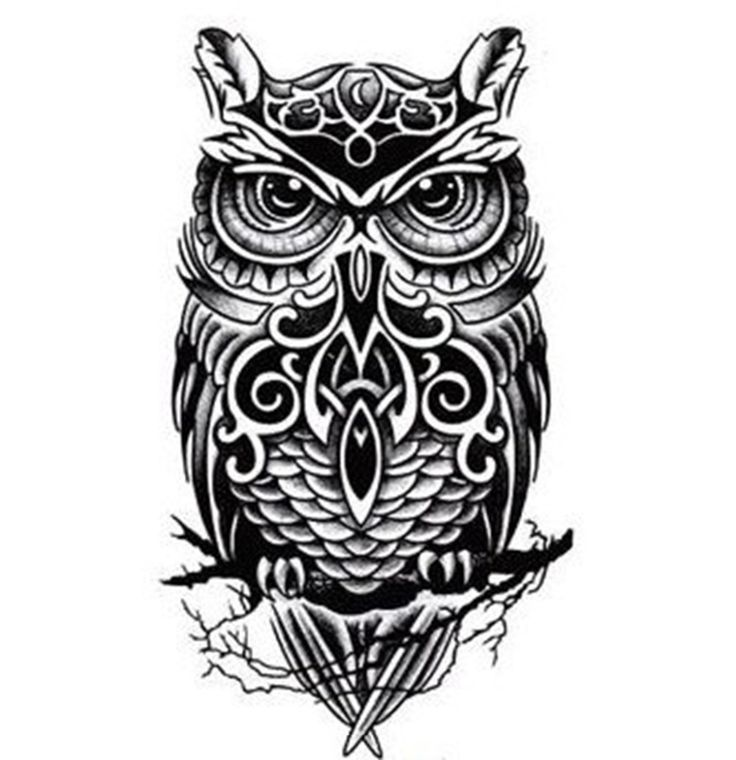 Black-And-White-Owl-Totem-Printed-Tattoo-Sticker-Waterproof-Sexy-Wrist-Arm-Lower-Shoulder-Temporary-Tattoos.jpg (1000×1033)
