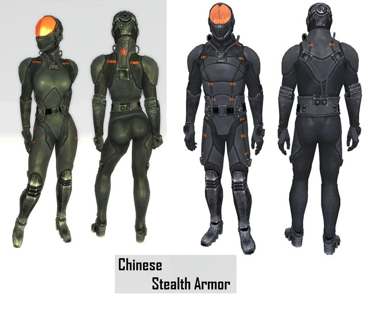 Chinese Stealth Armor: with and without sleeves make helmet separate. 6 different colors. visor mod slot please put this in fallout 4