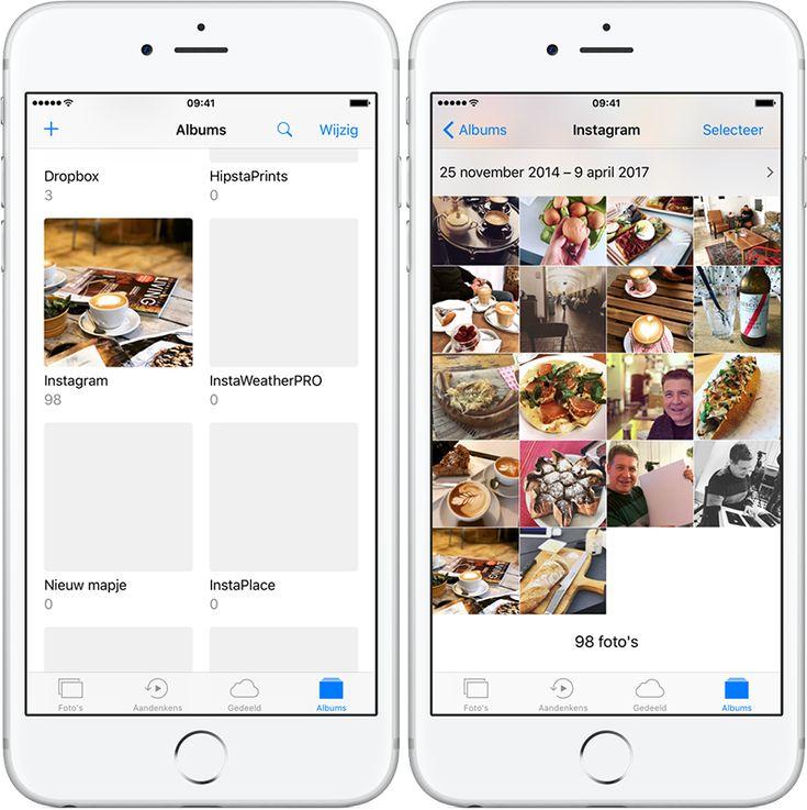 Instagram bewaarde foto's in een album