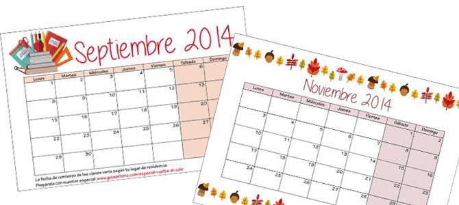 Calendario escolar 2014-2015 para imprimir - Escuela infantil y colegio - Educación - Guia del Niño