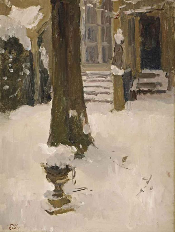 """""""The artist's garden at the Koninginnegracht in winter, The Hague"""" by Isaac Israels, c.1915"""