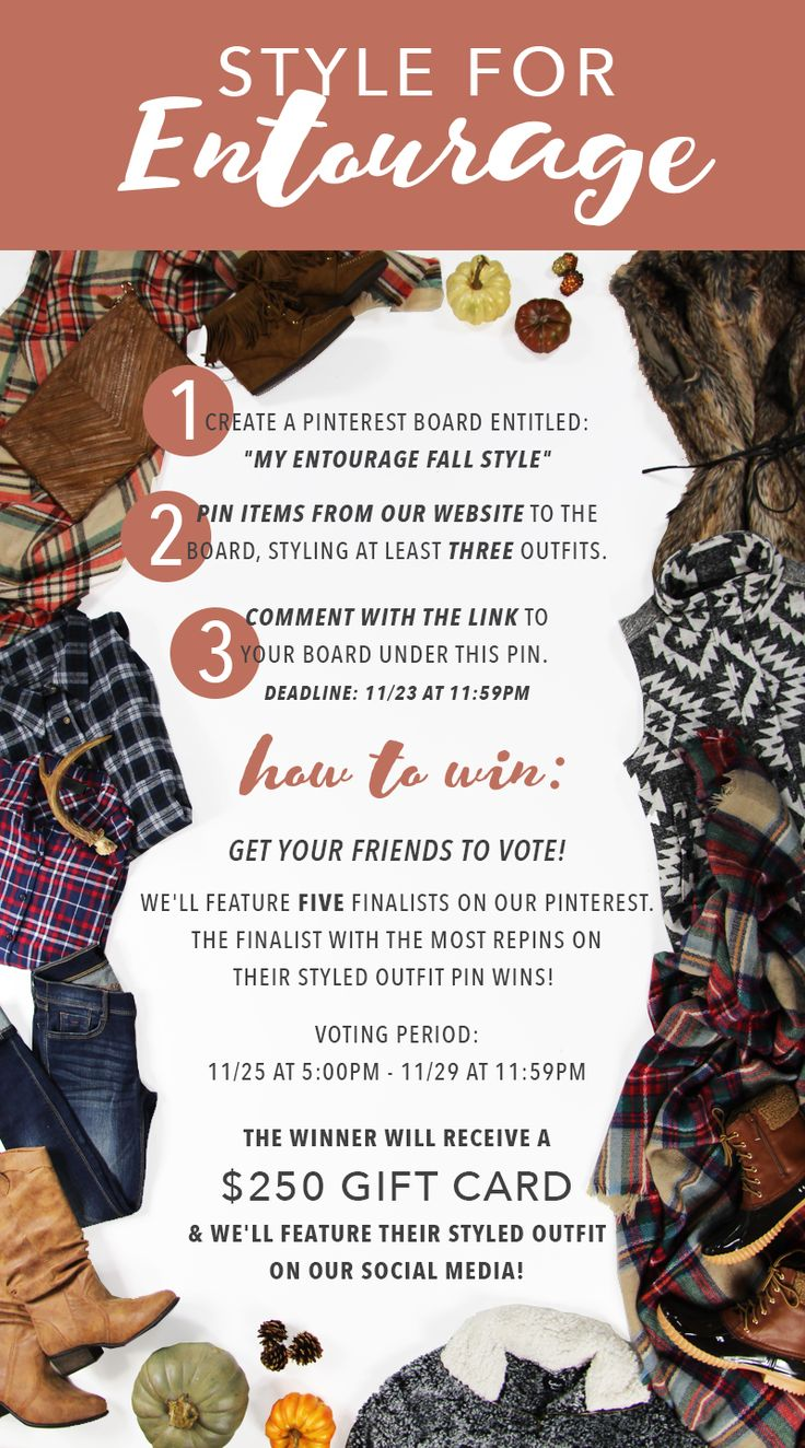**STYLE FOR ENTOURAGE & WIN A $250 GIFT CARD!!**  Follow the instructions to enter! Get creative & show us YOUR style! Feel free to also pin other items, ideas, etc. that inspire you! We'll select FIVE finalists, based on creativity & feature a styled outfit from each board on our Pinterest! The finalist with the most repins WINS! Good luck!! #contest #giveaway #giftcard #shopentourage #styleforentourage