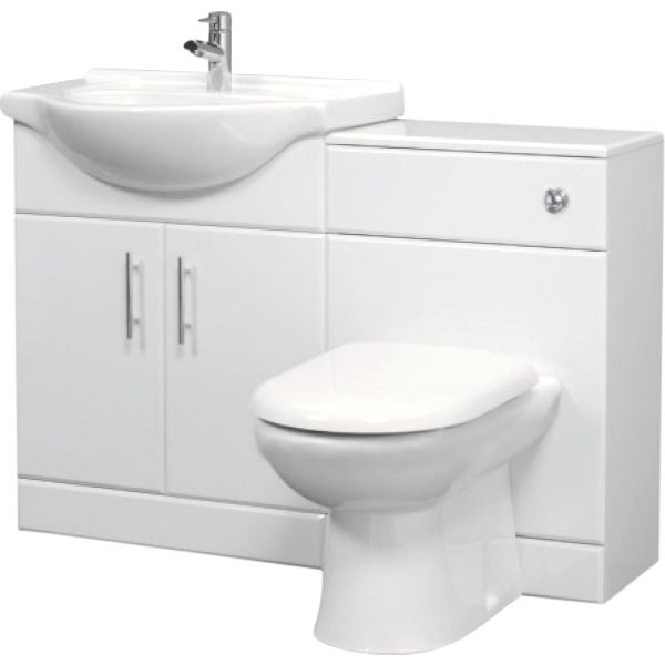 White Gloss Vanity Unit, Basin and Back to Wall Toilet 1150mm