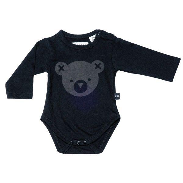 Huxbaby Hux Bear Long Sleeve Onesie Black
