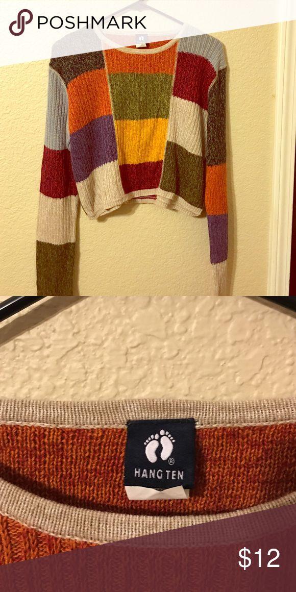 Vintage Hang Ten color block crop sweater Hang Ten Color block cropped sweater Vintage Hang Ten Sweaters Crew & Scoop Necks
