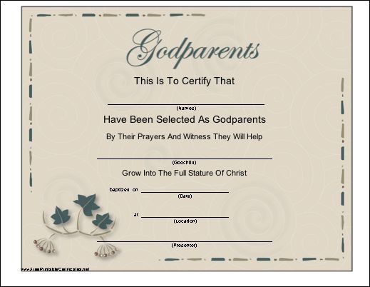 A Certificate With A Script Title And Leaf Design To Be Presented To A Baby  Or · Dedication IdeasBaby BlessingPrintable ...  Baby Dedication Certificates Templates