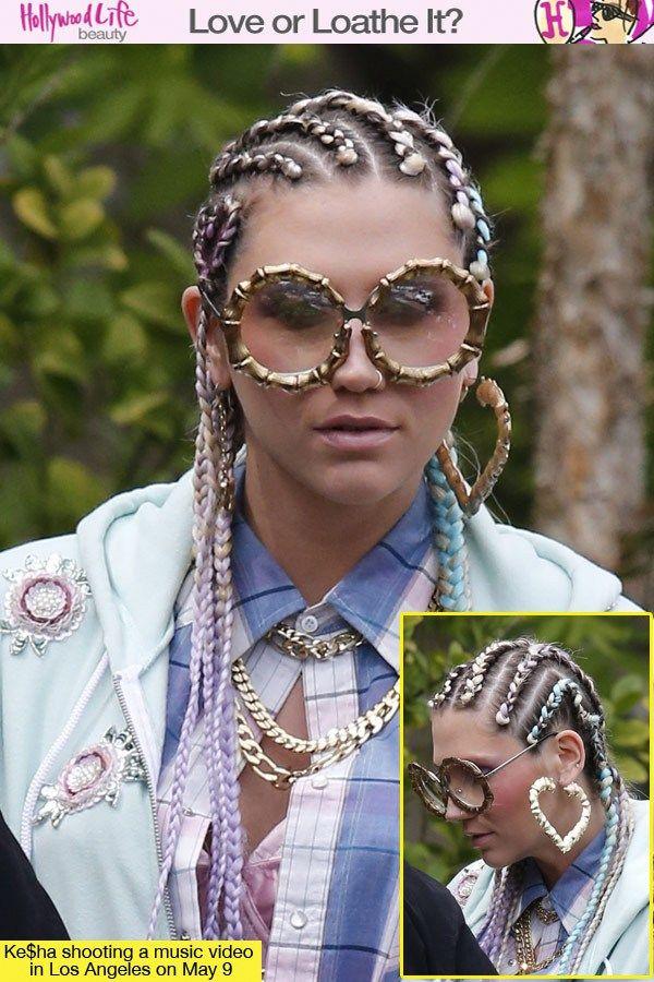 Ke$ha Nails | Ke$ha's Crazy Hair Cornrows — Love Or Loathe? Vote