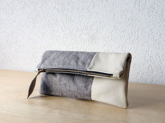 Leather Clutch in Vanilla Cream Cow Leather and European Washed Linen with Herringbone Pattern - Indie Patchwork Series
