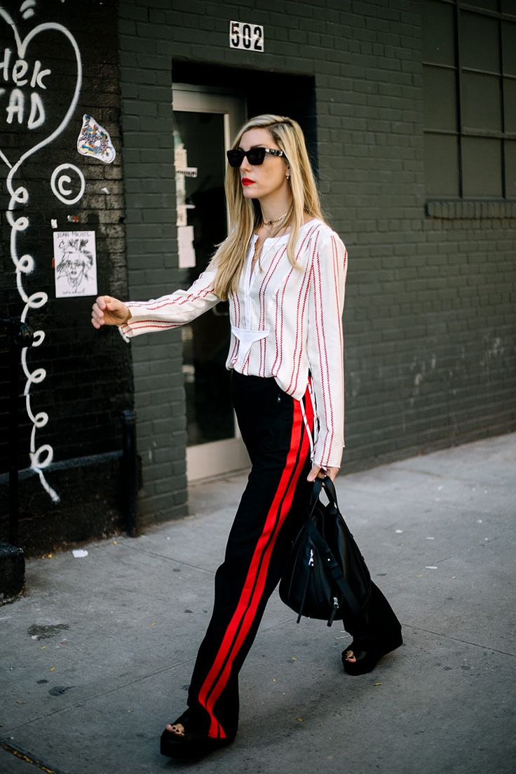Street Style : stripe top paired with formal track pants & stacked slides    Saved by Gabby Fincham   