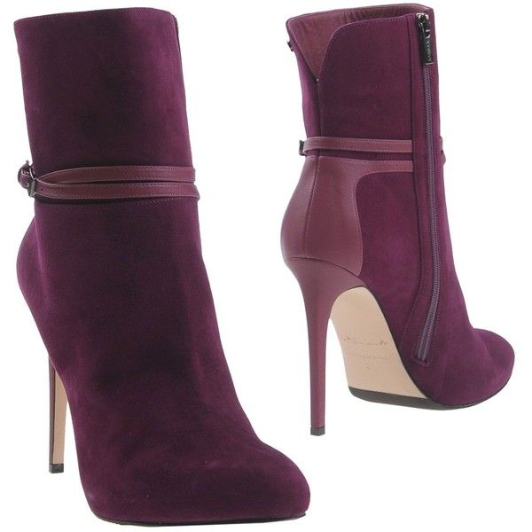 Le Silla Ankle Boots ($455) ❤ liked on Polyvore featuring shoes, boots, ankle booties, purple, round toe ankle boots, leather ankle boots, purple ankle boots, round toe booties and leather ankle booties