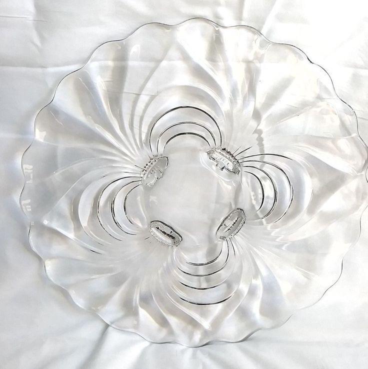 VINTAGE CLEAR GLASS SWIRL PATTERN PEDESTAL CAKE PLATE STAND DEPRESSION ERA 1940