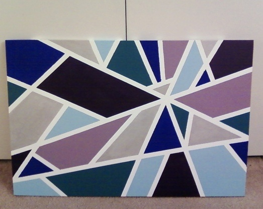 Stretched canvas + Masking tape + Acrylic paint (3-4 coats per color) = Easy wall art for my master bedroom.