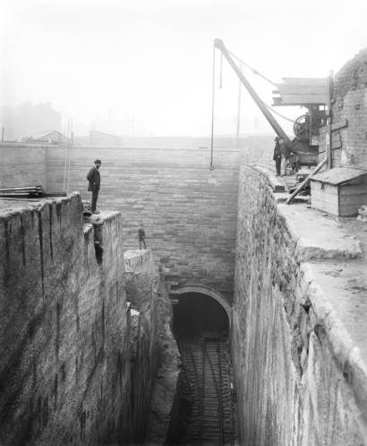 widening of a railway cutting in Liverpool in 1881.