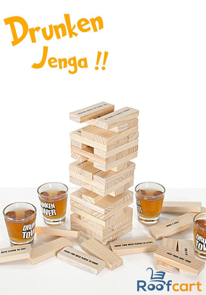 Drunken Jenga is the game of steady hands, big laughs and seeing doubles. This game has proven to be an extreme challenge even sober, so just wait until you get a couple of notches on your belt. Play by the rules or create your own! Buy this at #roofcart now!