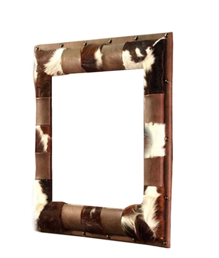 Western Decor On Sale: Cowhide And Leather Mirror With Nail Head Trim. Now On